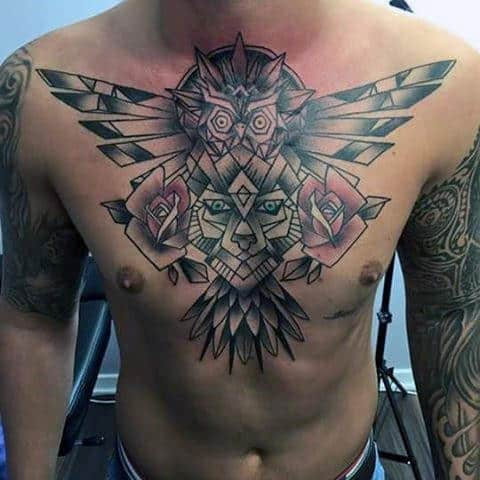 Old School Retro Geometric Rose With Owl Guys Chest Tattoo
