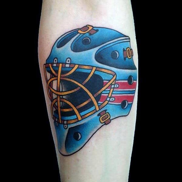 Old School Retro Hockey Guys Inner Forearm Tattoos