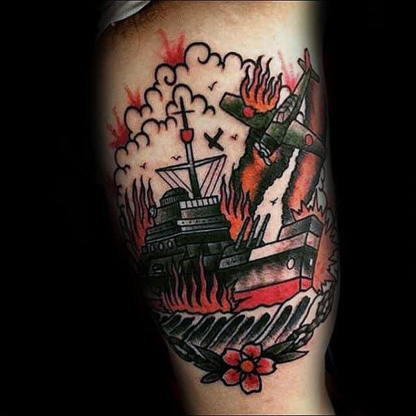 Old School Retro Ww2 Mens Navy Tattoos On Arm