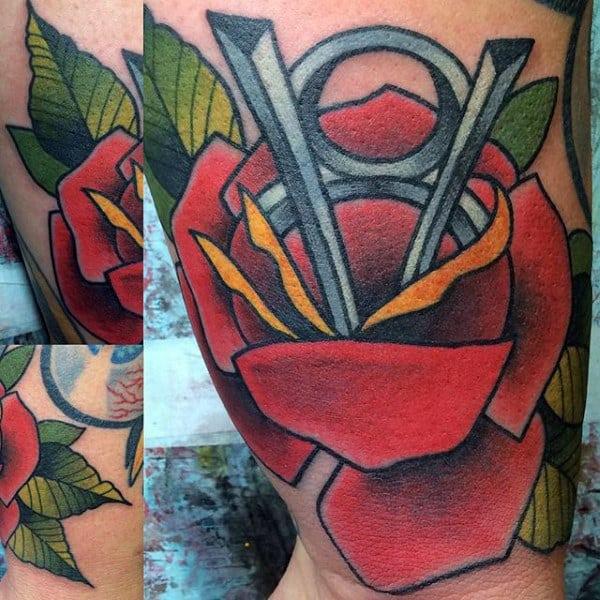 Old School Rose Flower Mens Traditional V8 Inner Arm Bicep Tattoos