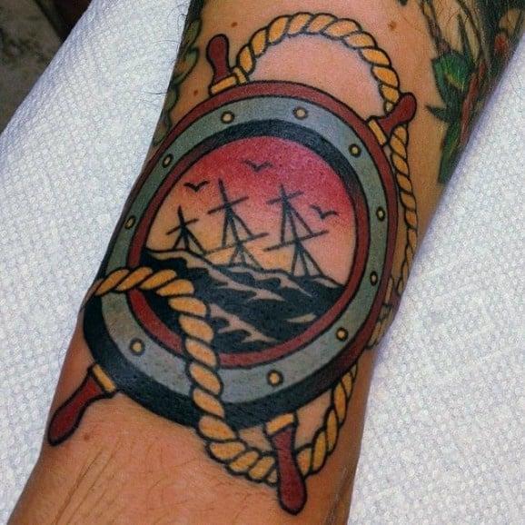 Old School Sailor Jerry Mens Ship Wheel Tattoos