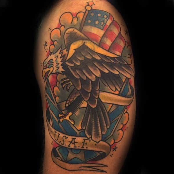 Old School Sailor Jerry Usaf Bald Eagle Arm Tattoo For Men