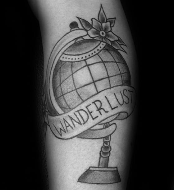 Old School Shaded Globe Wanderlust Banner Male Leg Tattoo Designs