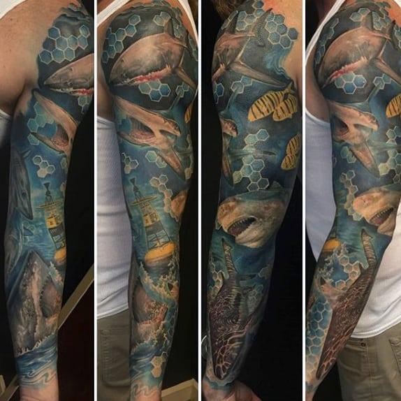 Old School Shark Tattoo On Men