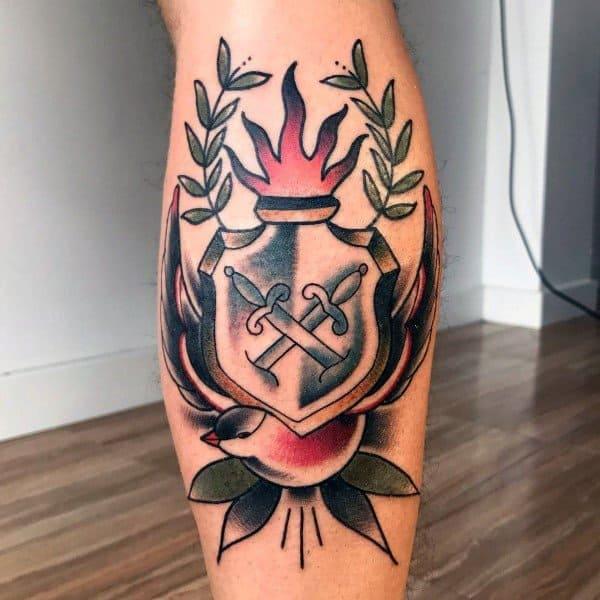 Old School Shield Traditional Leg Calf Tattoos
