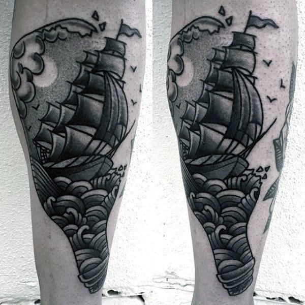 Old School Ship In A Bottle Shaded Tattoos For Guys On Outer Forearm