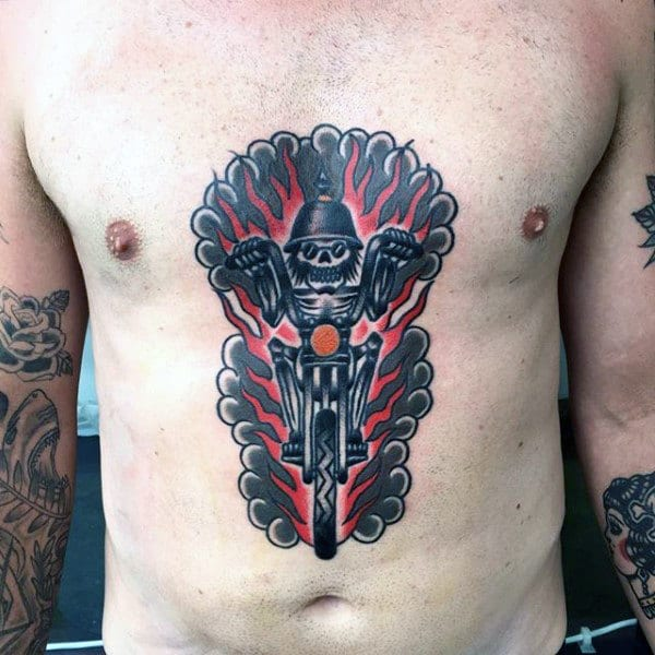 Old School Skeleton Riding Motorcycle Mens Chest Biker Tattoos