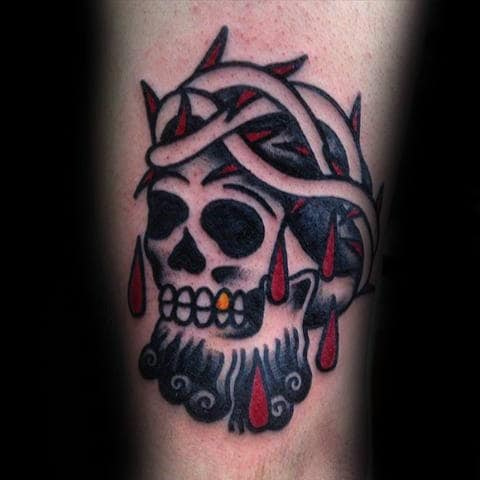 Old School Skull With Crown Of Thorns Guys Thigh Tattoo