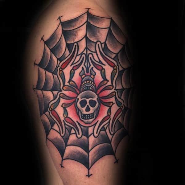 Old School Spider Web Skull Mens Upper Arm Tattoos