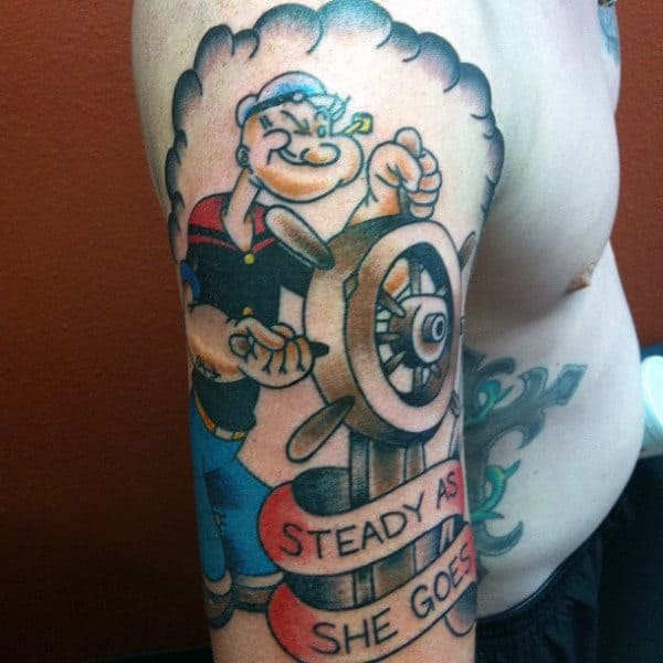 Old School Steady As She Goes Popeye Steering Wheell On Ship Mens Upper Arm Tattoo
