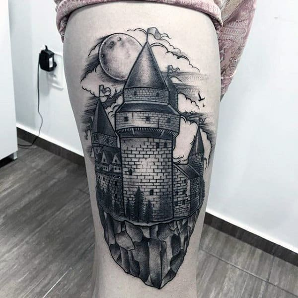 Old School Stone Wall Castle Mens Thigh Tattoo Design Ideas