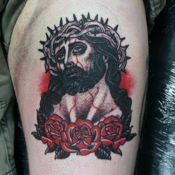 Old School Thigh Tattoo For Guys Of Jesus Christ With Red Rose Flowers