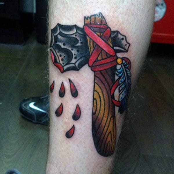 Old School Tomahawk Leg Tattoo For Men