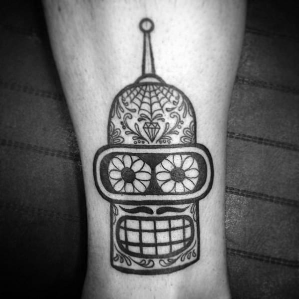 Old School Traditiona Robot Head Mens Bender Day Of The Dead Themed Leg Tattoo