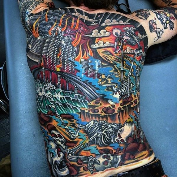 Old School Traditional Awesome Back Mens Tattoo Ideas