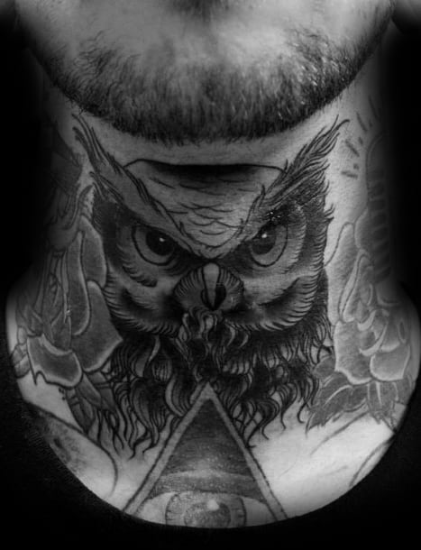 Old School Traditional Awesome Owl Neck Tattoos For Men