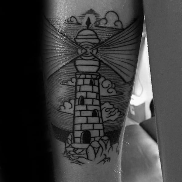 Old School Traditional Back Of Arm Lighthouse Tattoos For Guys