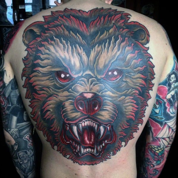 Old School Traditional Bear Head Epic Tattoo Designs For Guys