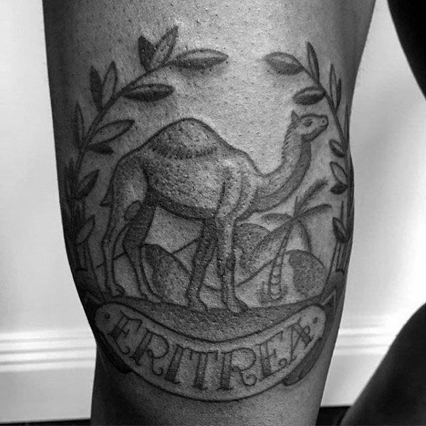 Old School Traditional Camel Tattoos For Men On Leg