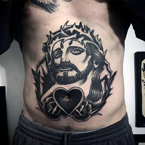 Old School Traditional Catholic Jesus Heart Mens Stomach Tattoo