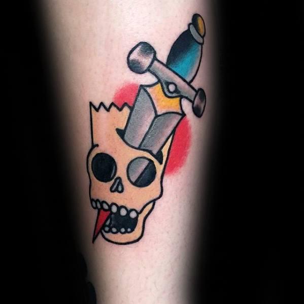 Old School Traditional Dagger Through Bart Simpson Skull Guys Tattoo Ideas On Forearm