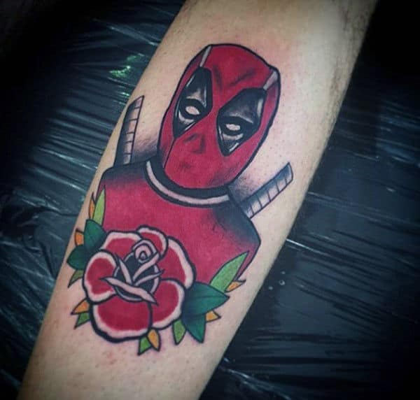 Old School Traditional Deadpool Mens Forearm Tattoos