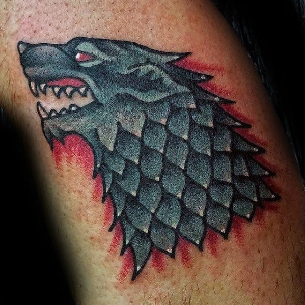 Old School Traditional Dire Wolf Arm Game Of Thrones Tattoos For Gentlemen