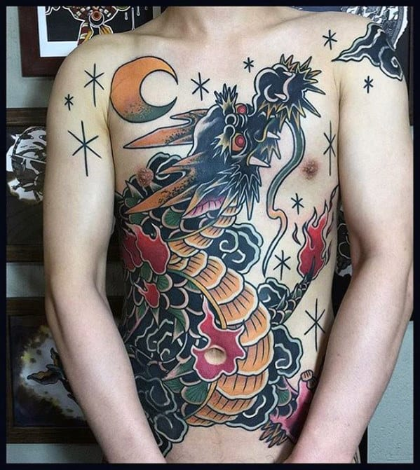 Old School Traditional Dragon Chest Tattoo Ideas For Men