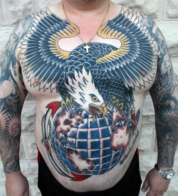 Old School Traditional Eagle With Globe And Anchor Mens Chest Tattoo