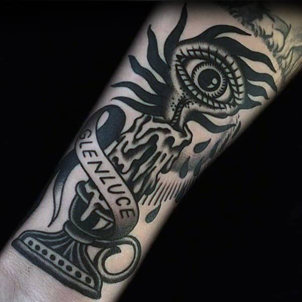 Old School Traditional Eye With Candle Male Arm Tattoos