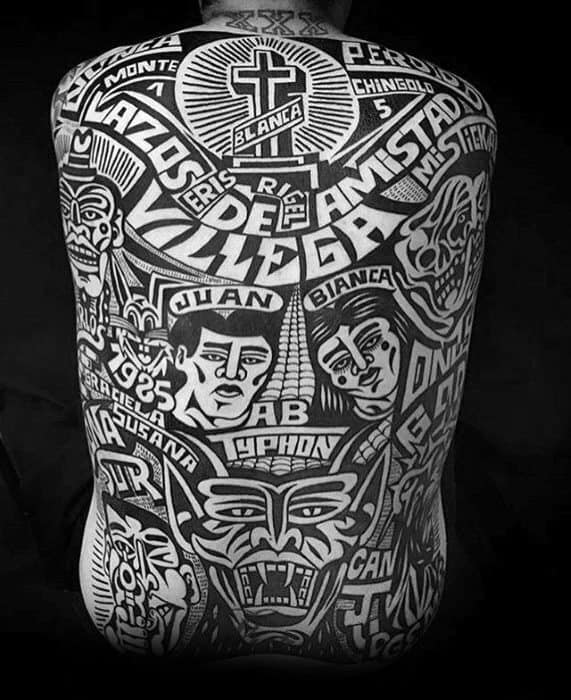 Old School Traditional Full Back Amazing Mens Great Tattoo Designs