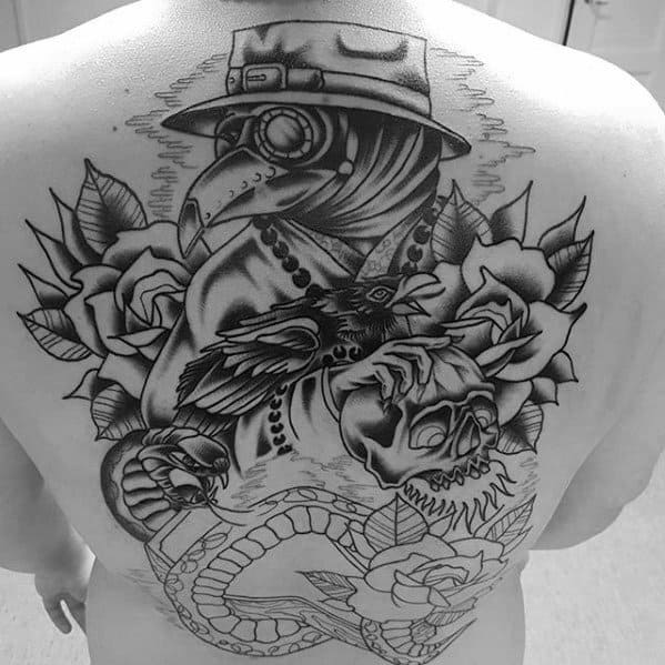 Old School Traditional Full Back Amazing Mens Plague Doctor Rose Flower Tattoo Designs