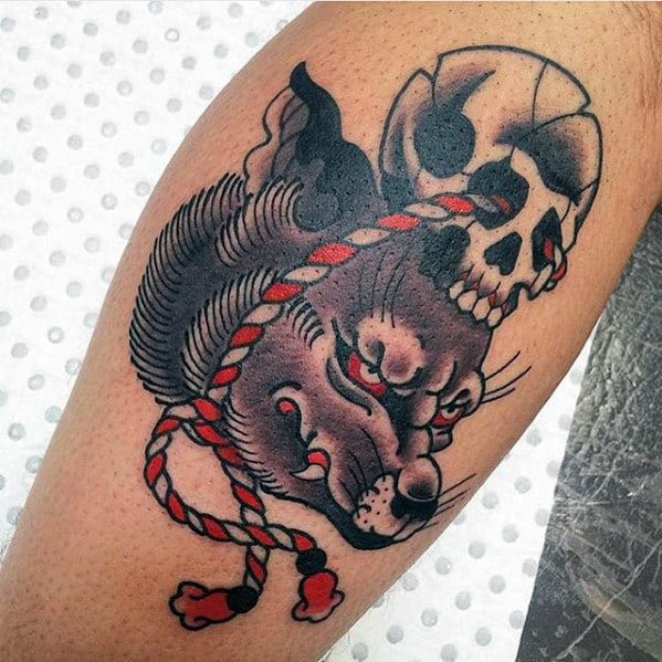 Old School Traditional Guys Kitsune Skull Leg Tattoos