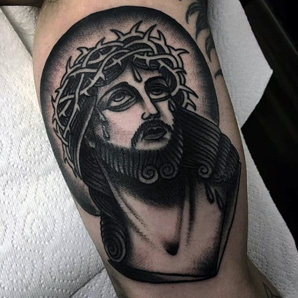 Old School Traditional Jesus Mens Arm Tattoo Ideas