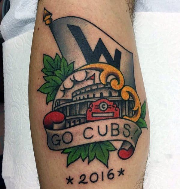 Old School Traditional Leg Calf Chicago Cubs Male Tattoos