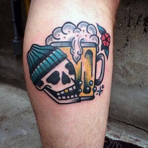 Old School Traditional Leg Calf Skull Beer Tattoo Design On Man