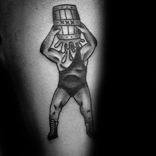 Old School Traditional Leg Guys Wrestling Tattoo Design Ideas