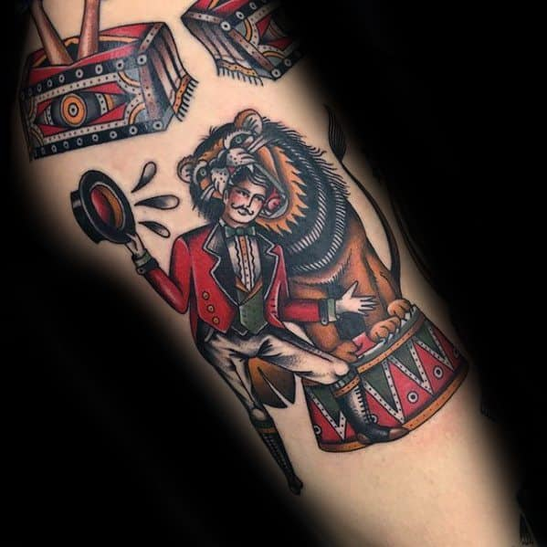Old School Traditional Lion Tamer Unique Mens Circus Tattoos