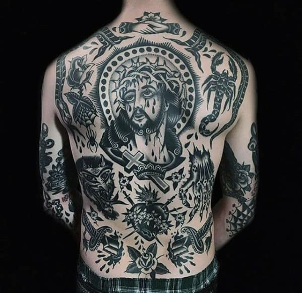 Old School Traditional Male Jesus Back Tattoos