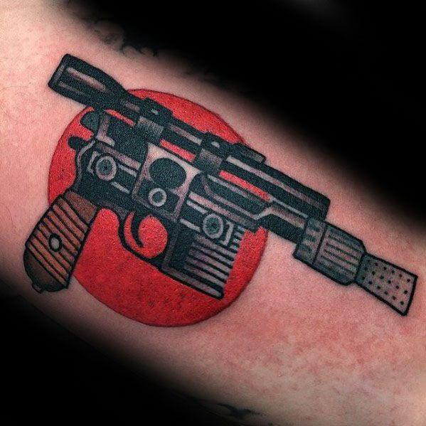 Old School Traditional Masculine Han Solo Blaster Pistol Arm Tattoos For Men