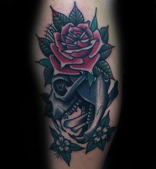 Old School Traditional Mens Bear Skull Rose Flower Tattoo On Leg