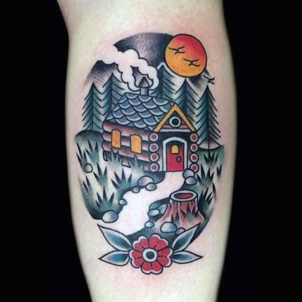 Old School Traditional Mens Cabin Leg Calf Tattoo