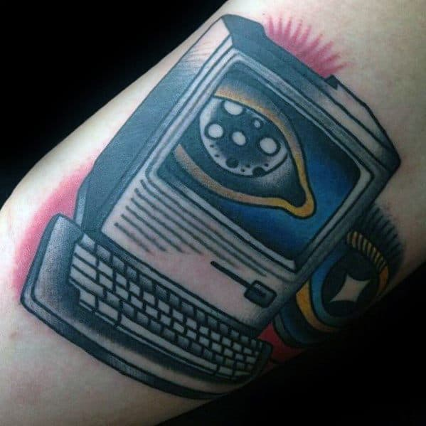 Old School Traditional Mens Cool Computer Tattoo Ideas