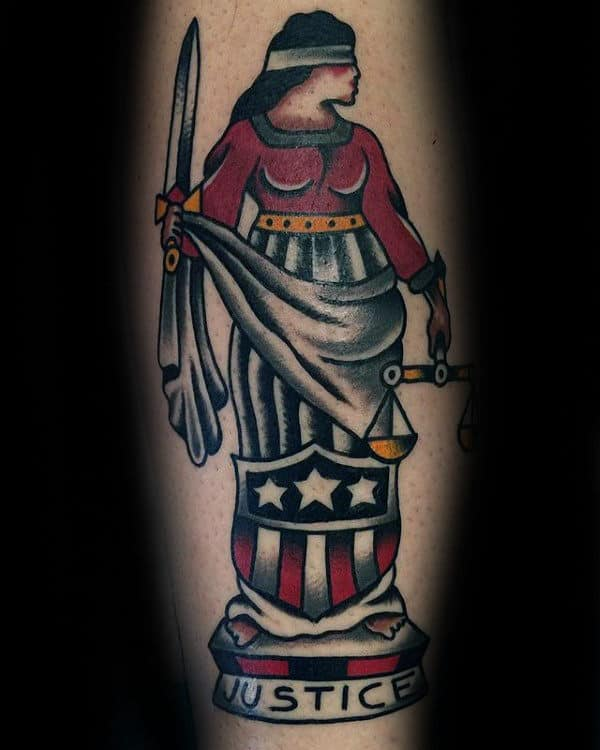 Old School Traditional Mens Lady Justice Tattoo Designs