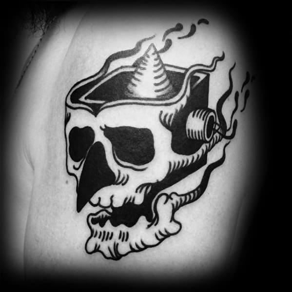 Old School Traditional Mens Retro Unique Skull Upper Arm Tattoo