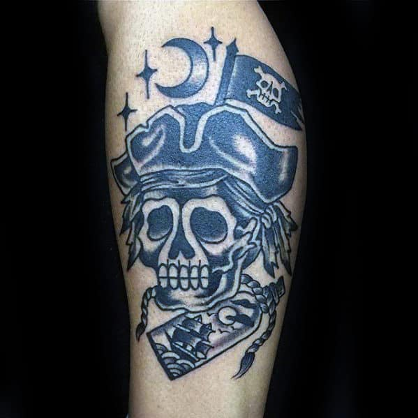 Old School Traditional Mens Skull Pirate Flag Leg Calf Tattoo