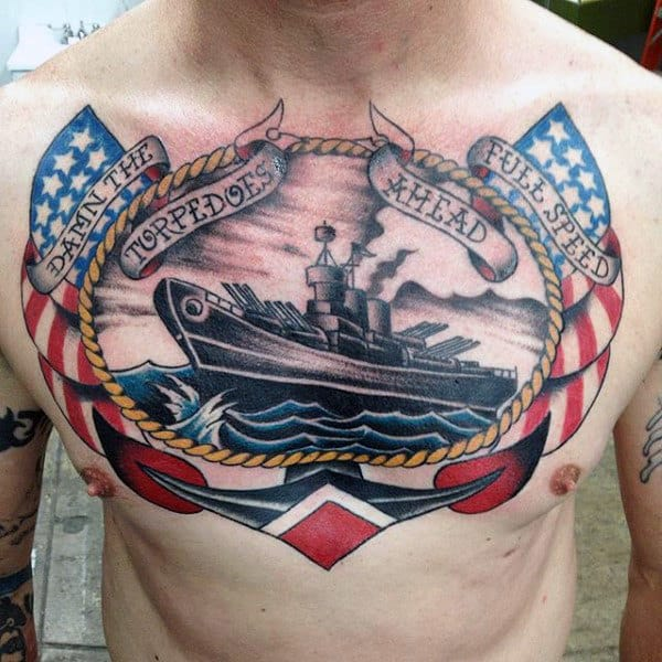 Old School Traditional Mens Torpedoes Ahead Upper Chest Tattoos