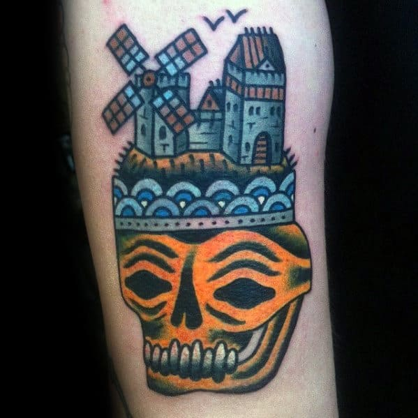 Old School Traditional Mens Windmill Skull Arm Tattoo