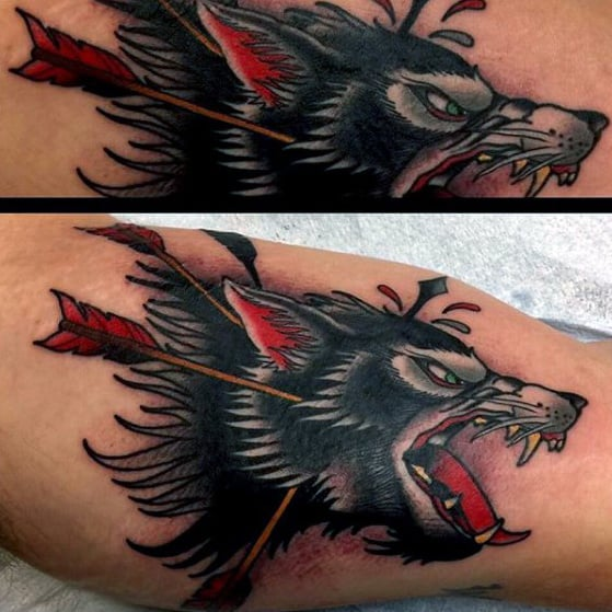 Old School Traditional Mens Wolf Arroows Inner Arm Bicep Tattoo
