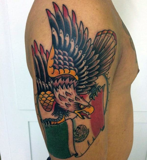 Old School Traditional Mexican Eagle Mens Arm Tatto